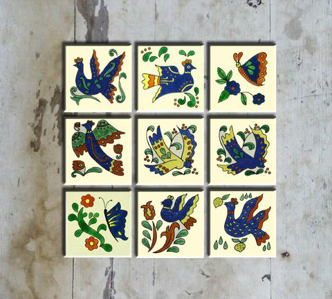 Hand-painted Set 9 Mexican Bird Tiles - Vriksh of Life