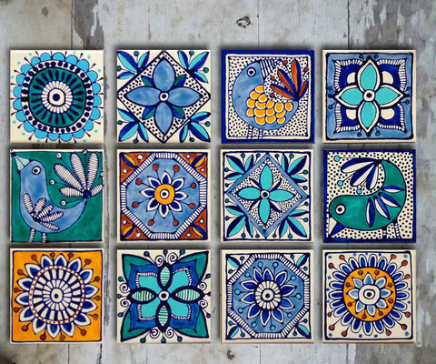 Hand-painted Set MEXICAN TALAVERA-12 - Vriksh of Life