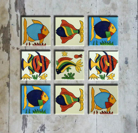 Hand-painted Set 9 MEXICAN TALAVERA FISH-9 - Vriksh of Life