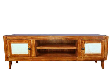 Teak Wood TV Unit With Marble On Side Doors - Vriksh of Life