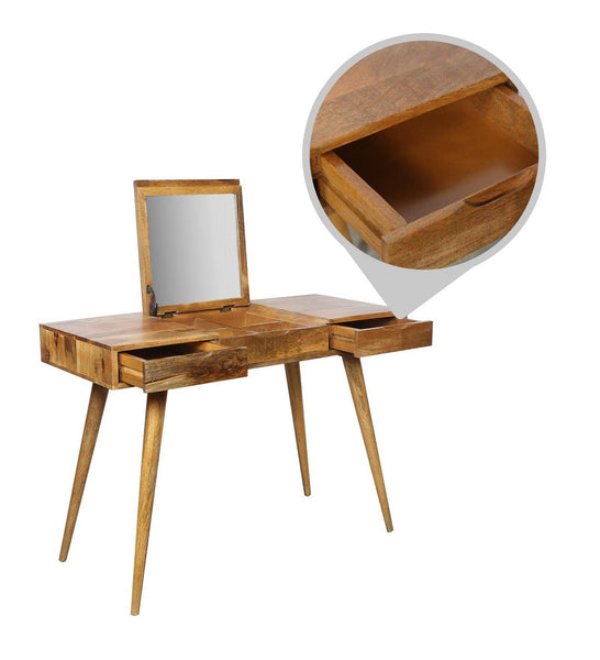 Flip Open Looking Glass Dressing Table - Vriksh of Life