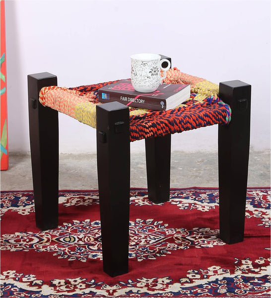 Handmade Rajasthani Side Table cum Stool In Mango Wood Legs And Recycled Woven Fabric Seat - Vriksh of Life