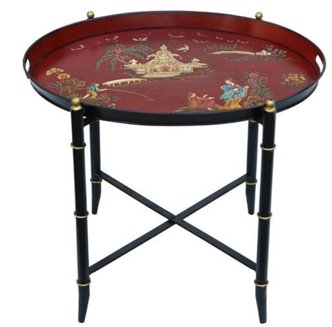 Hand Painted Red Chinoiserie Tray Table - Vriksh of Life