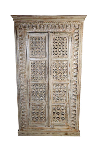 Royal White Carving Wood Almirah - Vriksh of Life