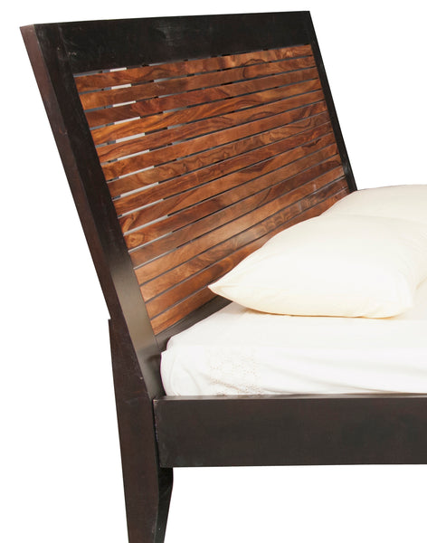 Sheesham Wood Striped Bed - Vriksh of Life