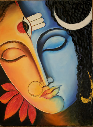 Parvati & Shiva - Two Spirits, One Soul - Canvas Painting - Vriksh of Life