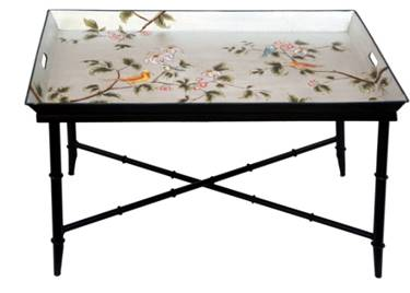 Hand Painted Silver Bird Tray Table - Vriksh of Life