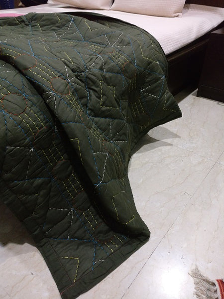 Kantha Embroidered Quilted Comforters - Tribal - Charcoal - Vriksh of Life