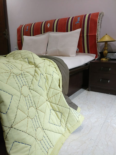 Kantha Embroidered Quilted Comforters - Tribal - Green Tea - Vriksh of Life