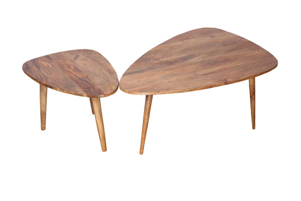 Wooden Oak Finish Coffee Table Set  of 2 - Vriksh of Life