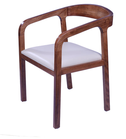 Tannis Arm Dining Chair in Walnut Polish - Vriksh of Life