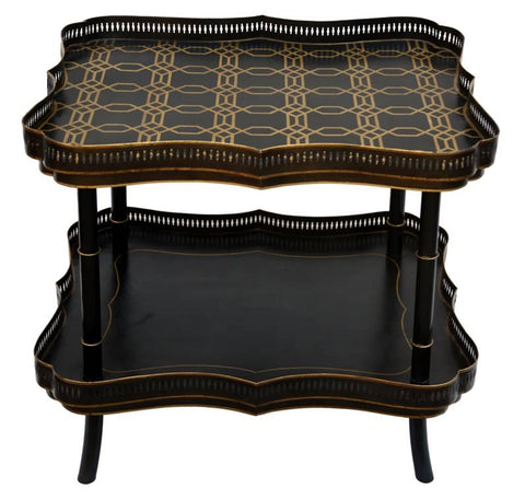 Hand Painted Double Deck Tray Table - Vriksh of Life