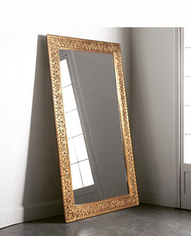 Mango Wood Carved Mirror Frame in Brass foiling