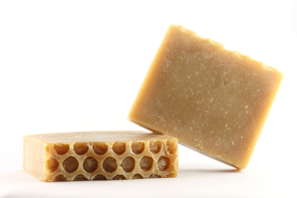 two bars of honey soap