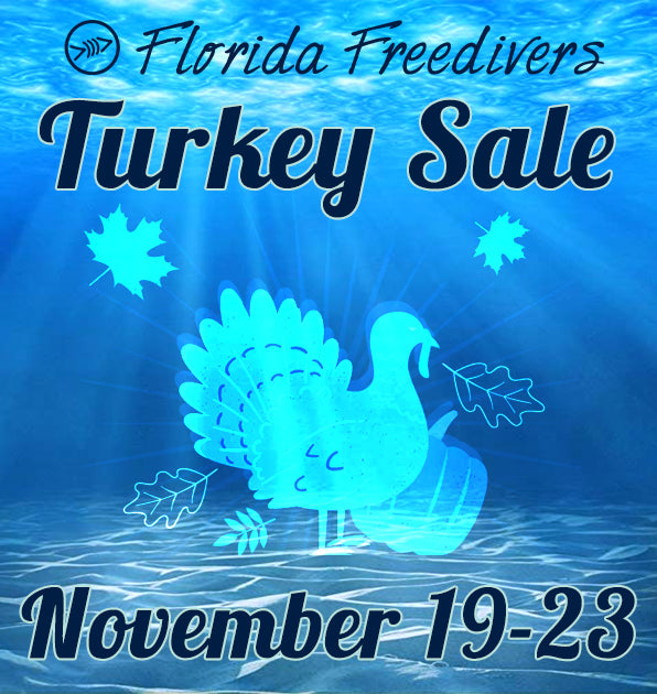 Shop the FLF Turkey Sale! Up to 65% off masks, fins, apparel, FLF gear and more!