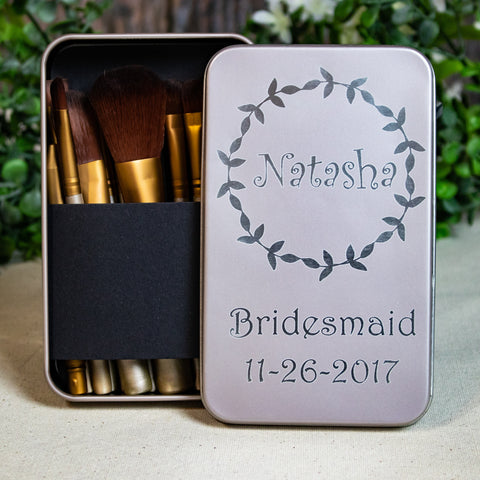 Custom Engraved Makeup Brush Set for Bridemsmaids