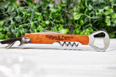 Engraved Corkscrew Wine Opener Wedding Favors