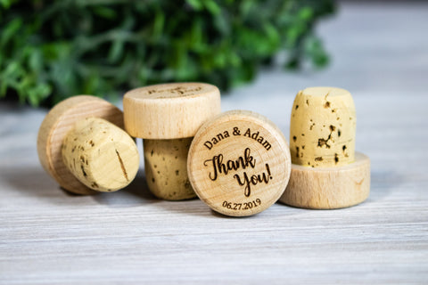 Personalized Thank You Wine Stopper Wedding Favors