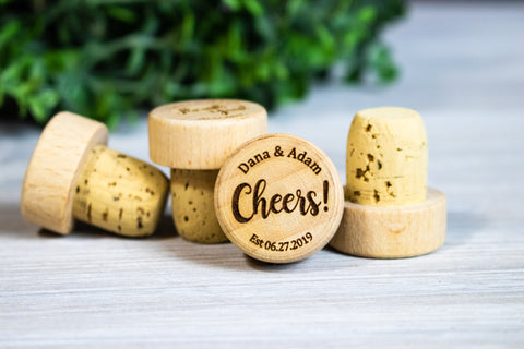 Personalized Cheers! Wine Stopper Wedding Favors