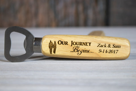 Personalized Wedding Favors- Custom Wood Bottle Openers