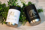 Mr. And Mrs. Custom Stainless Koozies, set of 2