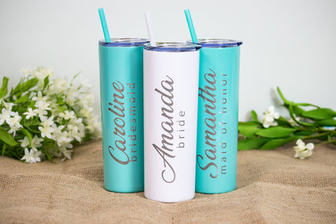 Custom Engraved 20 oz Skinny Tumblers - More Colors Available