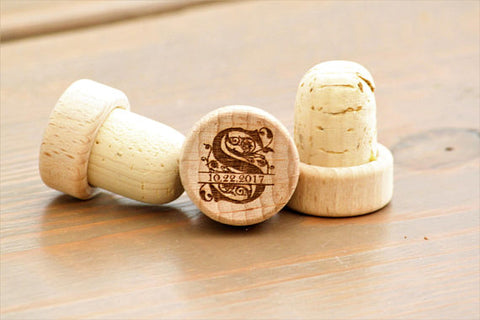 Monogram Wine Stopper Wedding Favors- Custom Engraved Wine Stoppers