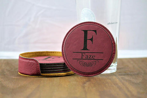 Personalized Monogram Coaster Set- Set of 6 Leather Coasters and Matching Holder