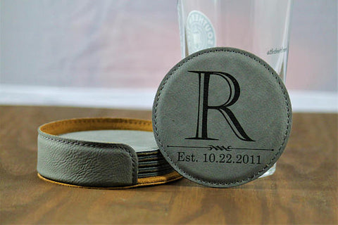 Monogram Leather Coasters