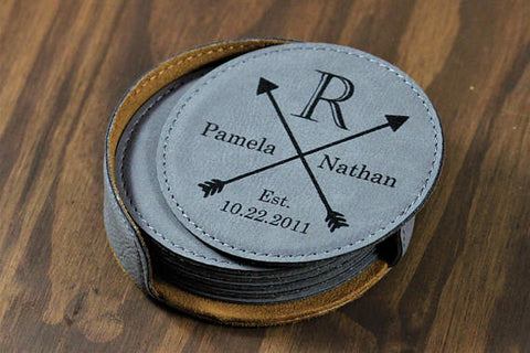 Customized Crest Leather Coasters