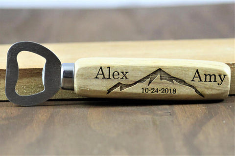 Personalized Wedding Favors- Mountain Engraved Bottle Openers