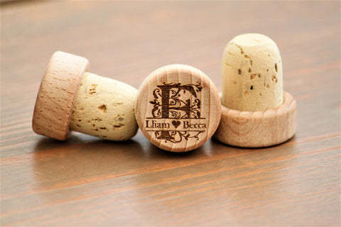 Monogram Wine Stopper Wedding Favors, Engraved Wine Stoppers
