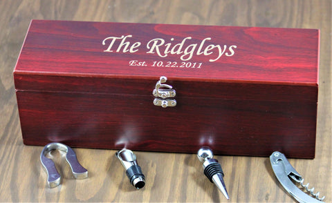 Engraved Wine Box Gift Set, Personalized Wine Gift Set