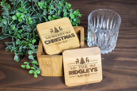 Personalized Christmas Coaster Set, Custom Engraved Wood Coasters for Christmas