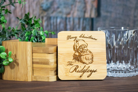 Custom Christmas Coaster Set, Personalized Engraved Wood Coasters for Christmas