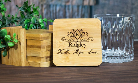 Custom Coaster Set Gift, Personalized Engraved Wood Coasters