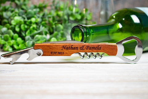Bulk Personalized Corkscrew Wedding Favors, Wine Opener Wedding Favors for Guests