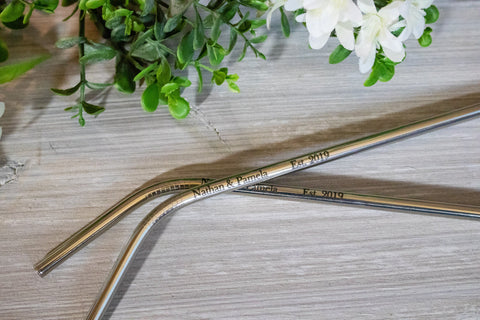 Custom Reusable Straw Wedding Favors, Stainless Steel Straw Wedding Favors for Guests