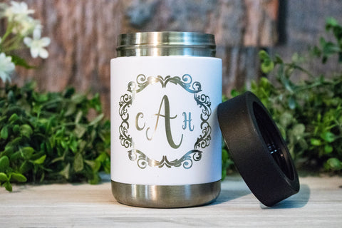 Custom Bridesmaid Can Coolers, Monogram Steel Can Holders
