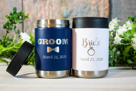 Bride and Groom Wedding Can Coolers Navy and White, Stainless Steel Wedding Colsters