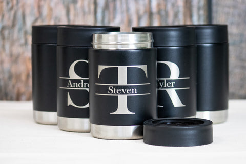Monogram Groomsman Gifts, Custom engraved Stainless can coolers