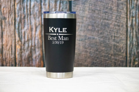 Custom Engraved Stainless Tumbler- 20 oz,  Personalized Groomsman Tumbler