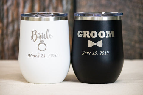 His and Hers Wedding Wine Tumblers, Stainless Steel Bride and Groom Wine Tumblers