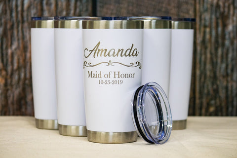 Custom Bridesmaid Tumblers, Custom engraved Stainless Tumblers - 20 oz