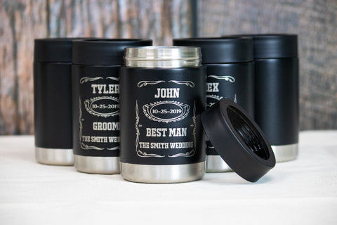 Whiskey Label Groomsman Gifts, Custom engraved Stainless can coolers