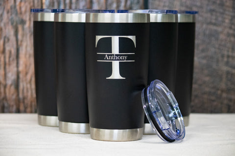 Monogram Groomsman Gifts, Custom engraved Stainless Tumblers - 20 oz