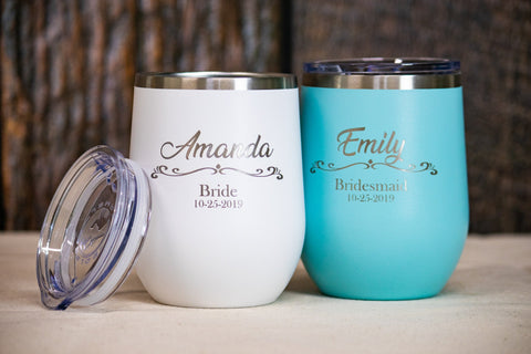 Custom Bridal Party Wine Tumblers, Maid of Honor Gift