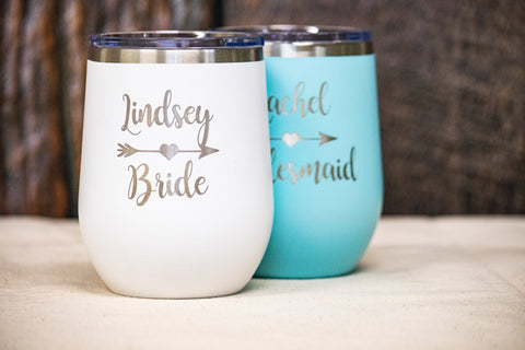 Bridesmaid Wine Tumblers, Custom Wine Tumblers