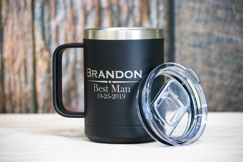 Custom Insulated Groomsman Coffee Mug, Personalized Stainless Mug for Bridal Party