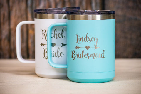 Custom Insulated Bridesmaid Coffee Mug, Personalized Stainless Mug for Bridal Party